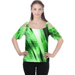 Abstract Background Green Women s Cutout Shoulder Tee