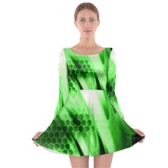 Abstract Background Green Long Sleeve Skater Dress