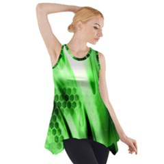 Abstract Background Green Side Drop Tank Tunic