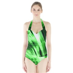 Abstract Background Green Halter Swimsuit