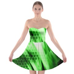 Abstract Background Green Strapless Bra Top Dress