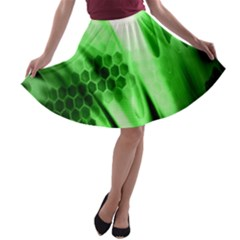 Abstract Background Green A-line Skater Skirt