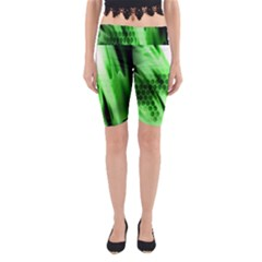 Abstract Background Green Yoga Cropped Leggings