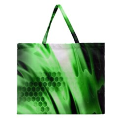 Abstract Background Green Zipper Large Tote Bag