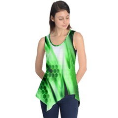 Abstract Background Green Sleeveless Tunic