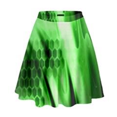 Abstract Background Green High Waist Skirt