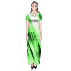 Abstract Background Green Short Sleeve Maxi Dress