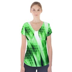 Abstract Background Green Short Sleeve Front Detail Top