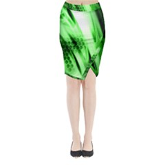 Abstract Background Green Midi Wrap Pencil Skirt
