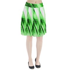 Abstract Background Green Pleated Skirt