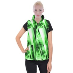 Abstract Background Green Women s Button Up Puffer Vest
