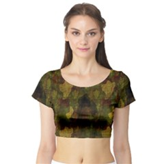 Textured Camo Short Sleeve Crop Top (Tight Fit)