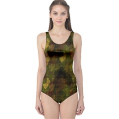 Textured Camo One Piece Swimsuit