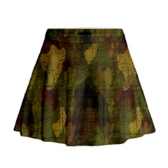 Textured Camo Mini Flare Skirt