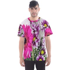 Purple White Flower Bouquet Men s Sport Mesh Tee