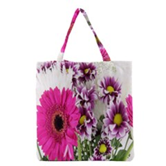 Purple White Flower Bouquet Grocery Tote Bag