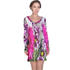 Purple White Flower Bouquet Long Sleeve Nightdress