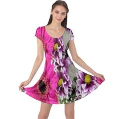 Purple White Flower Bouquet Cap Sleeve Dresses