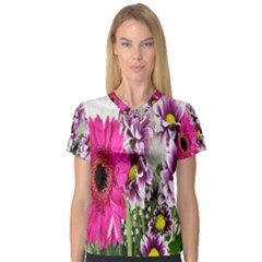 Purple White Flower Bouquet Women s V-Neck Sport Mesh Tee