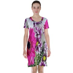 Purple White Flower Bouquet Short Sleeve Nightdress