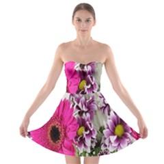 Purple White Flower Bouquet Strapless Bra Top Dress