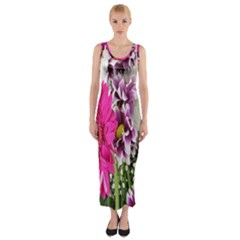 Purple White Flower Bouquet Fitted Maxi Dress