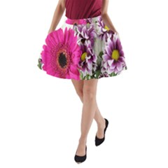Purple White Flower Bouquet A-Line Pocket Skirt