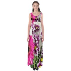 Purple White Flower Bouquet Empire Waist Maxi Dress