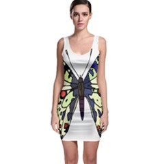 A Colorful Butterfly Image Sleeveless Bodycon Dress