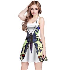 A Colorful Butterfly Image Reversible Sleeveless Dress