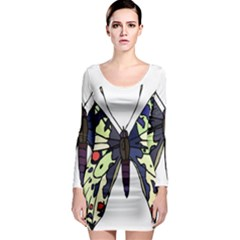 A Colorful Butterfly Image Long Sleeve Bodycon Dress