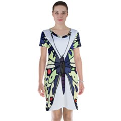 A Colorful Butterfly Image Short Sleeve Nightdress