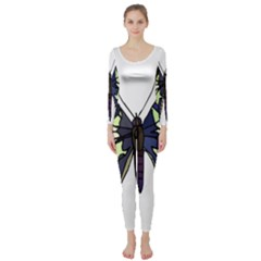 A Colorful Butterfly Image Long Sleeve Catsuit