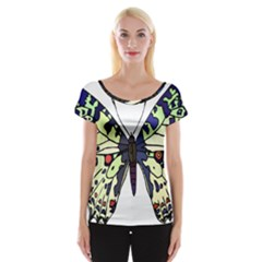 A Colorful Butterfly Image Women s Cap Sleeve Top
