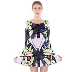 A Colorful Butterfly Image Long Sleeve Velvet Skater Dress