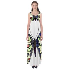 A Colorful Butterfly Image Empire Waist Maxi Dress