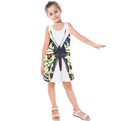 A Colorful Butterfly Image Kids  Sleeveless Dress