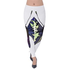A Colorful Butterfly Image Velvet Leggings