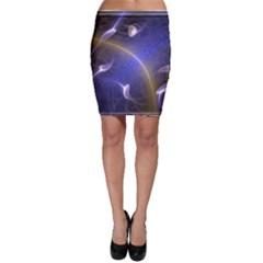 Fractal Magic Flames In 3d Glass Frame Bodycon Skirt