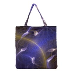 Fractal Magic Flames In 3d Glass Frame Grocery Tote Bag