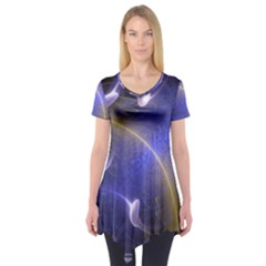 Fractal Magic Flames In 3d Glass Frame Short Sleeve Tunic