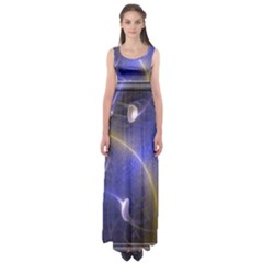 Fractal Magic Flames In 3d Glass Frame Empire Waist Maxi Dress