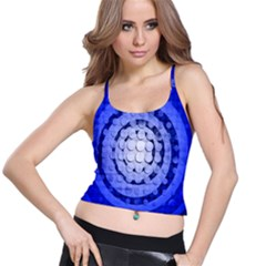 Abstract Background Blue Created With Layers Spaghetti Strap Bra Top