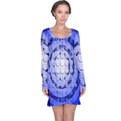 Abstract Background Blue Created With Layers Long Sleeve Nightdress