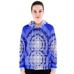 Abstract Background Blue Created With Layers Women s Zipper Hoodie