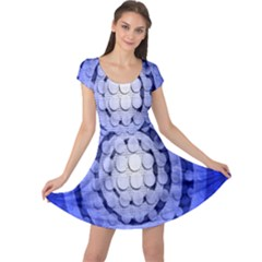 Abstract Background Blue Created With Layers Cap Sleeve Dresses