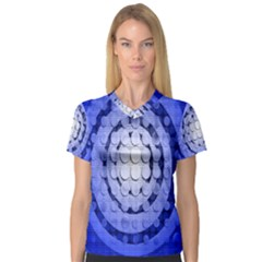 Abstract Background Blue Created With Layers Women s V-Neck Sport Mesh Tee