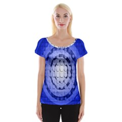 Abstract Background Blue Created With Layers Women s Cap Sleeve Top