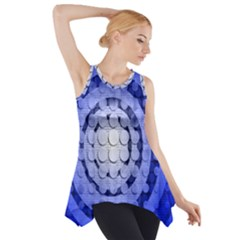Abstract Background Blue Created With Layers Side Drop Tank Tunic