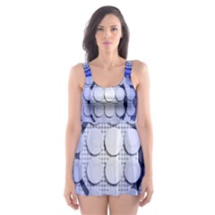 Abstract Background Blue Created With Layers Skater Dress Swimsuit